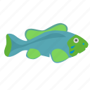 aquarium, decorative, fish, green, type icon