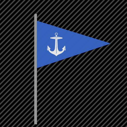 anchor, flag, marine, poi, pointer, sea, signal icon