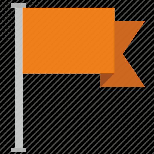 flag, location, orange, poi, point icon