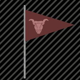 bull, flag, poi, pointer, skull icon