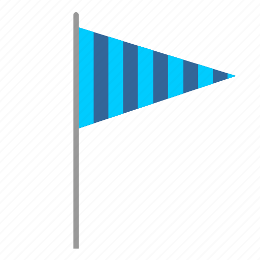 blue, flag, poi, signal, striped, triangle icon