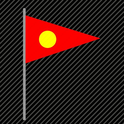 flag, poi, pointer, red, signal, sun icon