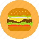 burger, cheese, fast food, hamburger, lunch, meat, tomato icon