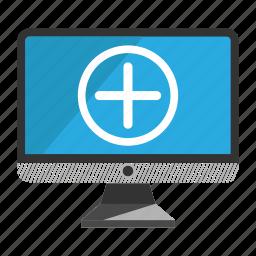 add, computer, desktop, monitor, screen icon