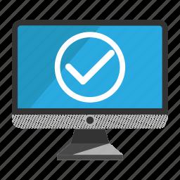 accept, computer, desktop, monitor, screen icon