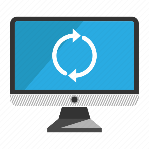 computer, desktop, monitor, screen, sync icon