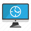 computer, desktop, monitor, screen, time icon