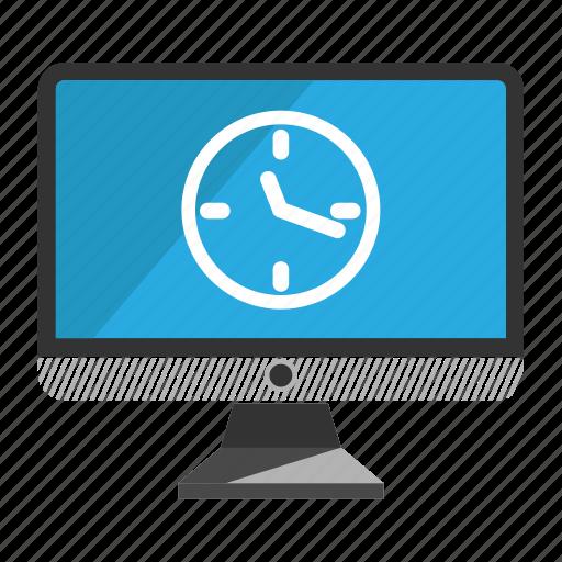 computer, desktop, monitor, screen, time icon