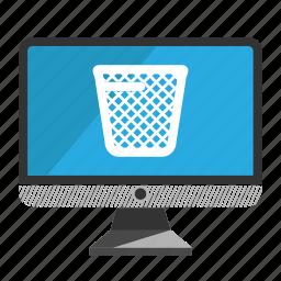 computer, desktop, monitor, screen, trash icon