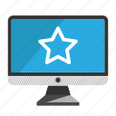 computer, desktop, monitor, screen, star icon