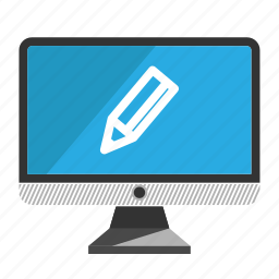 computer, desktop, monitor, pencil, screen icon