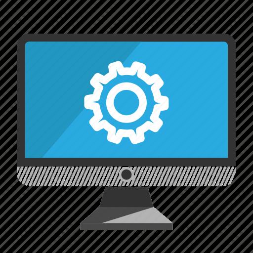 computer, desktop, monitor, screen, setting icon