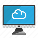 cloud, computer, desktop, monitor, screen icon