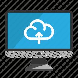 computer, desktop, monitor, screen, upload icon