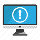 caution, computer, desktop, monitor, screen icon