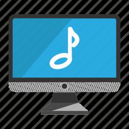 computer, desktop, monitor, music, screen icon