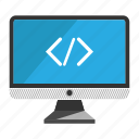 coding, computer, desktop, monitor, screen icon