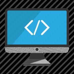 coding, computer, desktop, monitor, screen icon