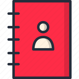 agenda, book, contacts, copyboard, notepad, phone number, user icon