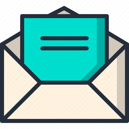 document, email, letter, mail, opened icon