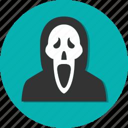 afraid, circle, general, scare, skull icon