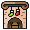 christmas, fire, fireplace, gift, present, socks, winter icon