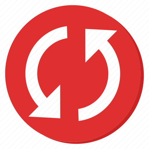circle, cycle, red, reload, sync, update icon