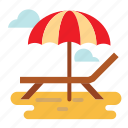 beach, bench, umbrella icon