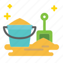 beach, bucket, sand, shovel, toy icon