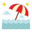 ocean, rain, sea, umbrella icon