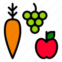 apple, carrot, grapes, harvest icon