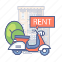 bike, hotel services, rent, scooter icon