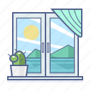 hotel, house, view, window icon