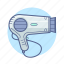 appliance, barbershop, hair dryer, hotel services icon