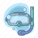 diving, mask, snorkeling, travel icon
