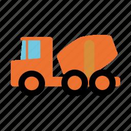 automotive, concrete, construction, motor vehicle, traffic, transportation, truck icon
