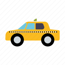 automotive, cab, car, taxi, traffic, transportation, yellow icon
