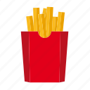 box, fast food, food, french fries, junk food, potato icon