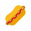 bun, fast food, food, hotdog, ketchup, mustard, sausage icon