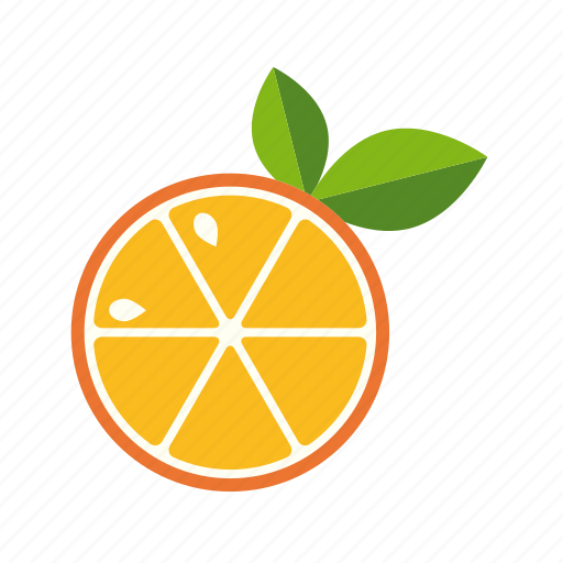 citrus, food, fruit, leaves, orange, slice icon