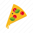 basil, cheese, fast food, food, pizza, salami, slice icon