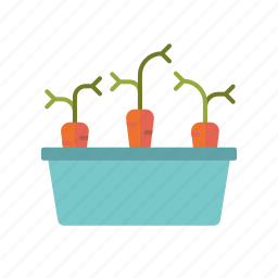 carrots, equipment, garden, gardening, planter, vegetaables icon
