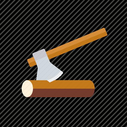 axe, equipment, garden, gardening, log, wood icon
