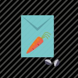 bag, carrot, equipment, garden, gardening, seed, vegetable icon