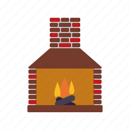 chimney, decoration, fire, fireplace, flame, home, interior icon