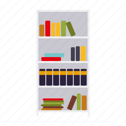 books, bookshelf, decoration, furniture, interior, shelf icon