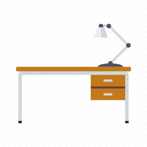 desk, desk lamp, drawers, furniture, interior, light icon