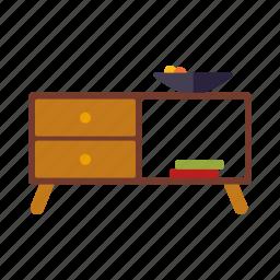 cupboard, decoration, fruit bowl, furniture, interior icon