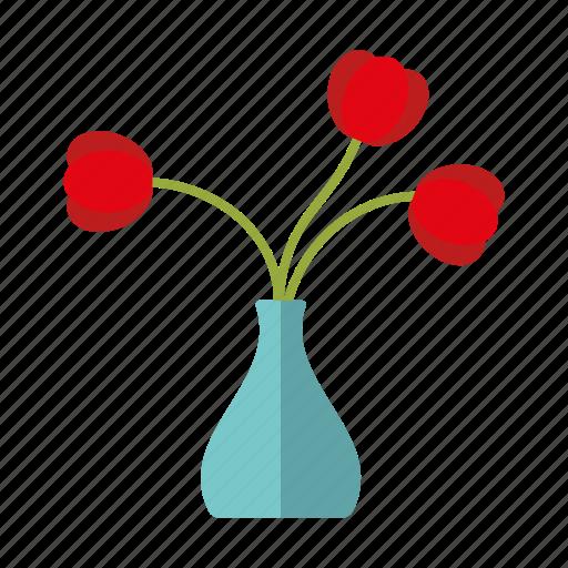 decoration, flowers, interior, tulips, vase icon