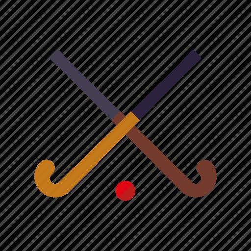 crossed, equipment, fielad hockey, hockey, hockey sticks, sports, team sports icon